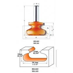 Фреза концевая CMT профильная D-38,1 I-20,7 S-8,0 R-6,00