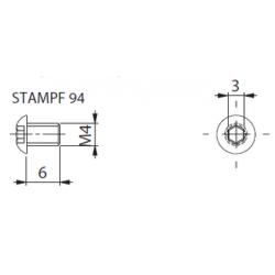Varžtelis frezai М4*6 STAMPF 94